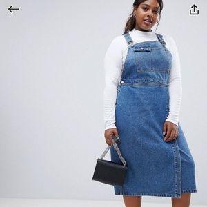 Asos denim overall dress sz 14